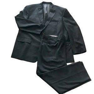 Lanfranco black double stripe suit 52L46
